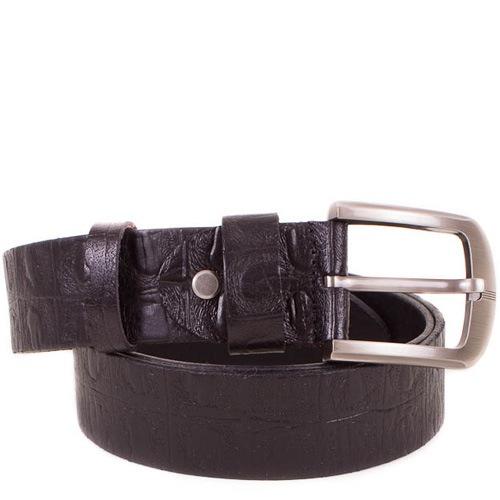 Ремень Eterno кожаный черный с фактурой рептилии, фото