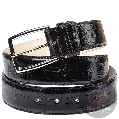 Ремень Orciani черный лаковый с тиснением под кожу крокодила, фото