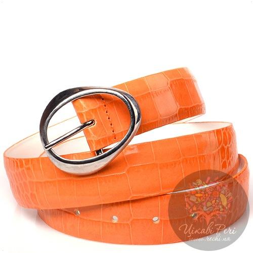 Ремень Orciani оранжевый лаковый с тиснением под кожу крокодила, фото