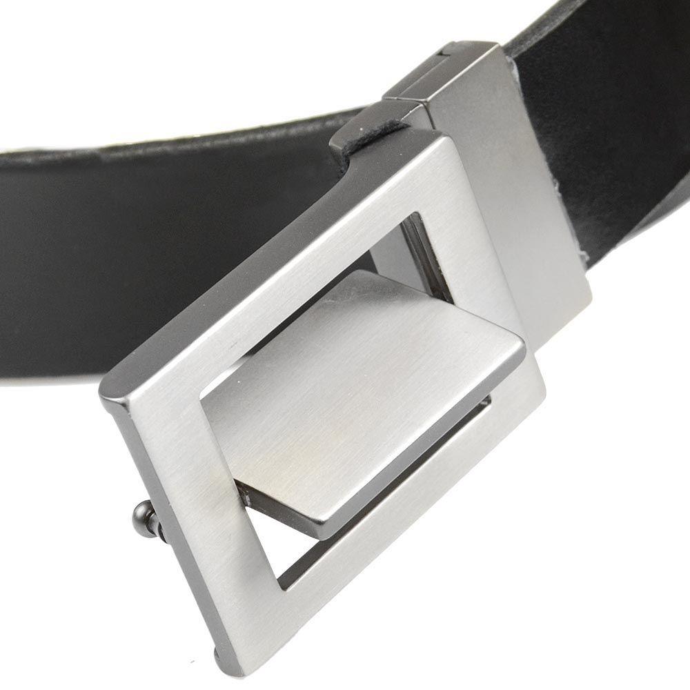 Кожаный ремень Loyd черный мужской со стальной немного рельефной пряжкой