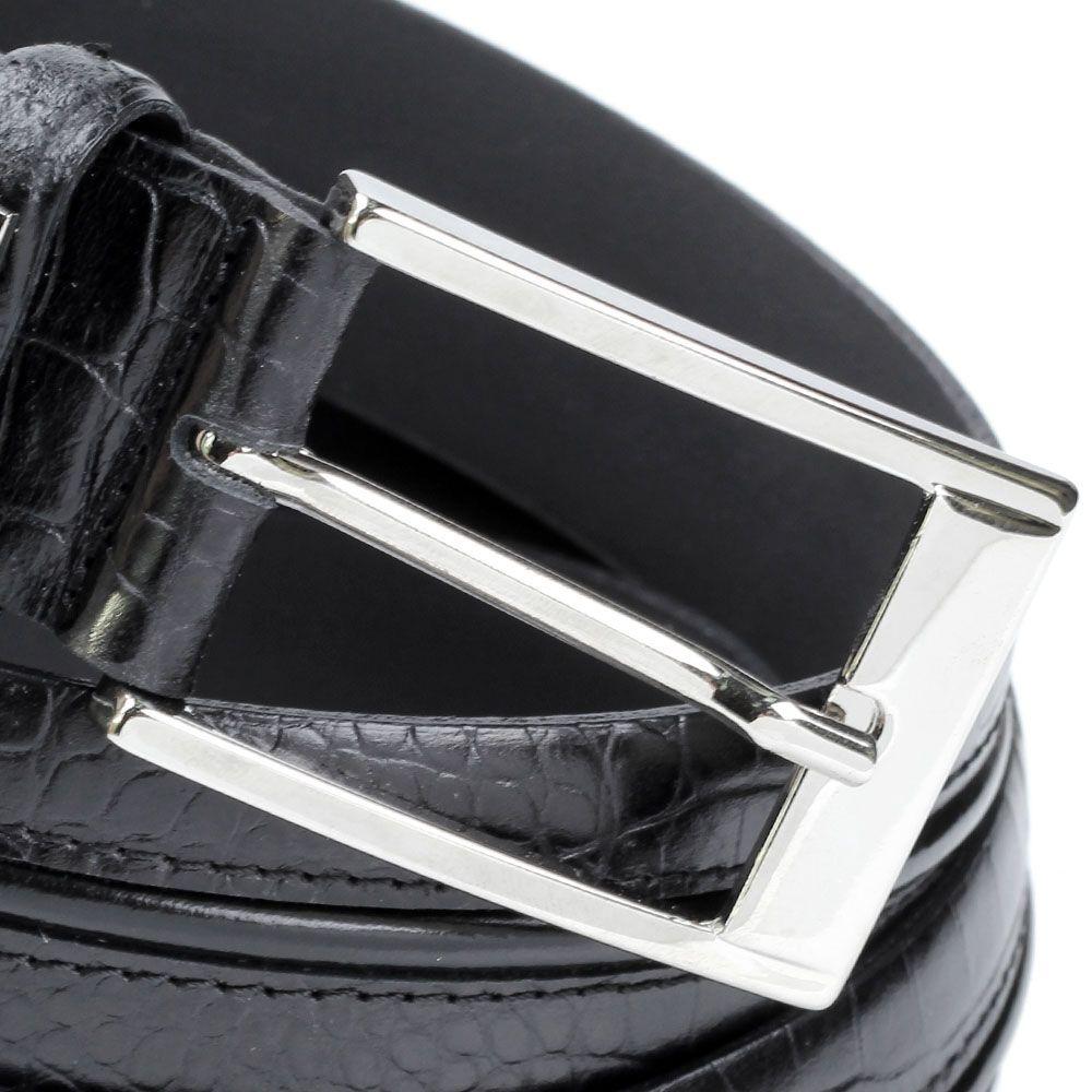 Ремень Baldinini черного цвета из фактурной кожи под крокодила