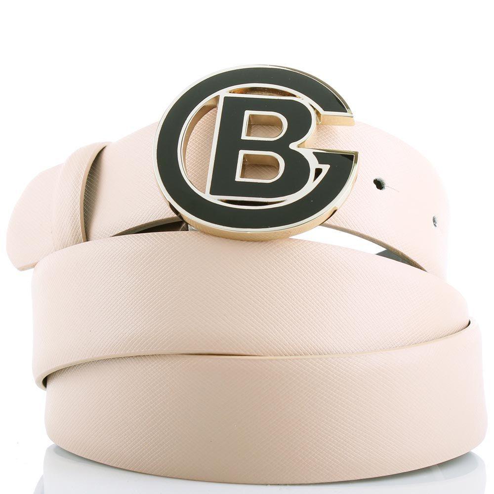 Ремень Baldinini бежевого цвета из фактурной кожи и с круглой пряжкой