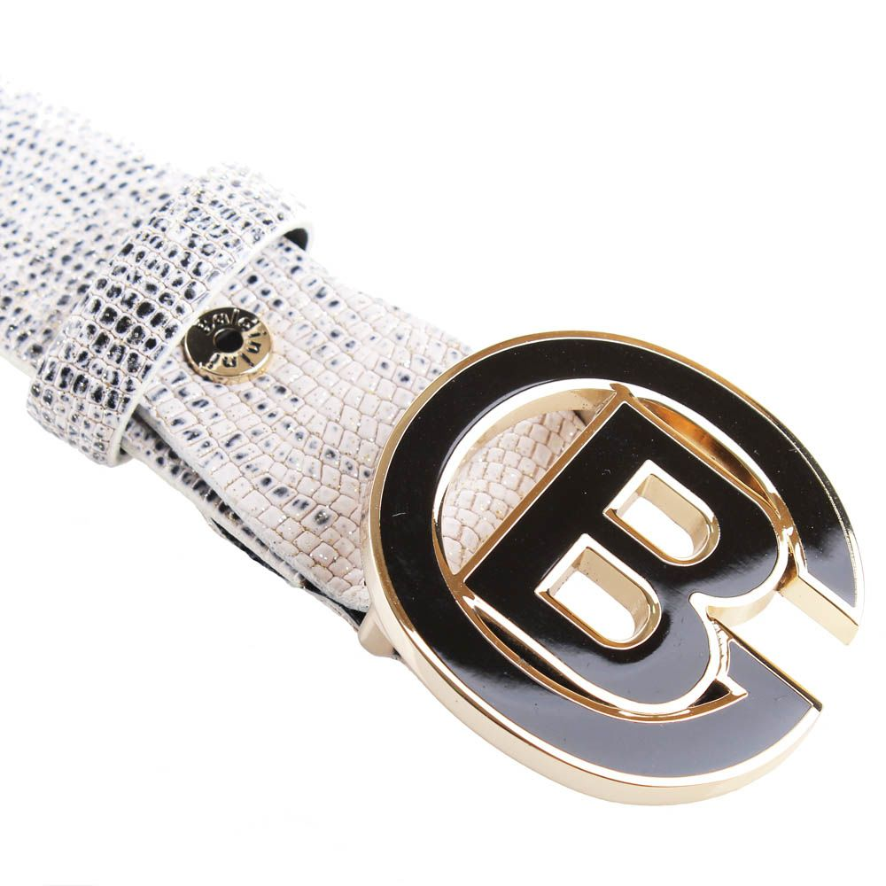 Ремень Baldinini черно-белый с золотистыми блестками