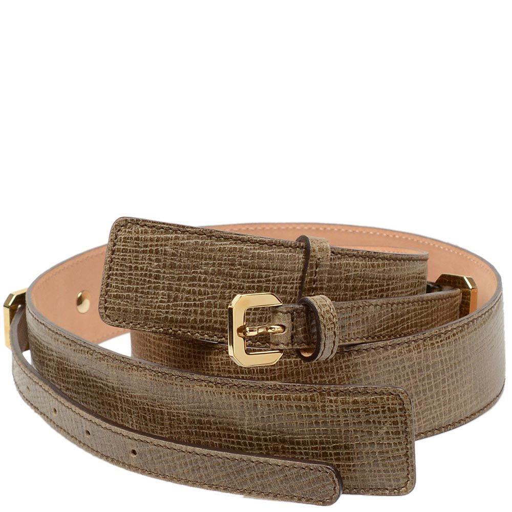 Женский кожаный ремень Escada светло-коричневый с фактурой Сафьяно двойной
