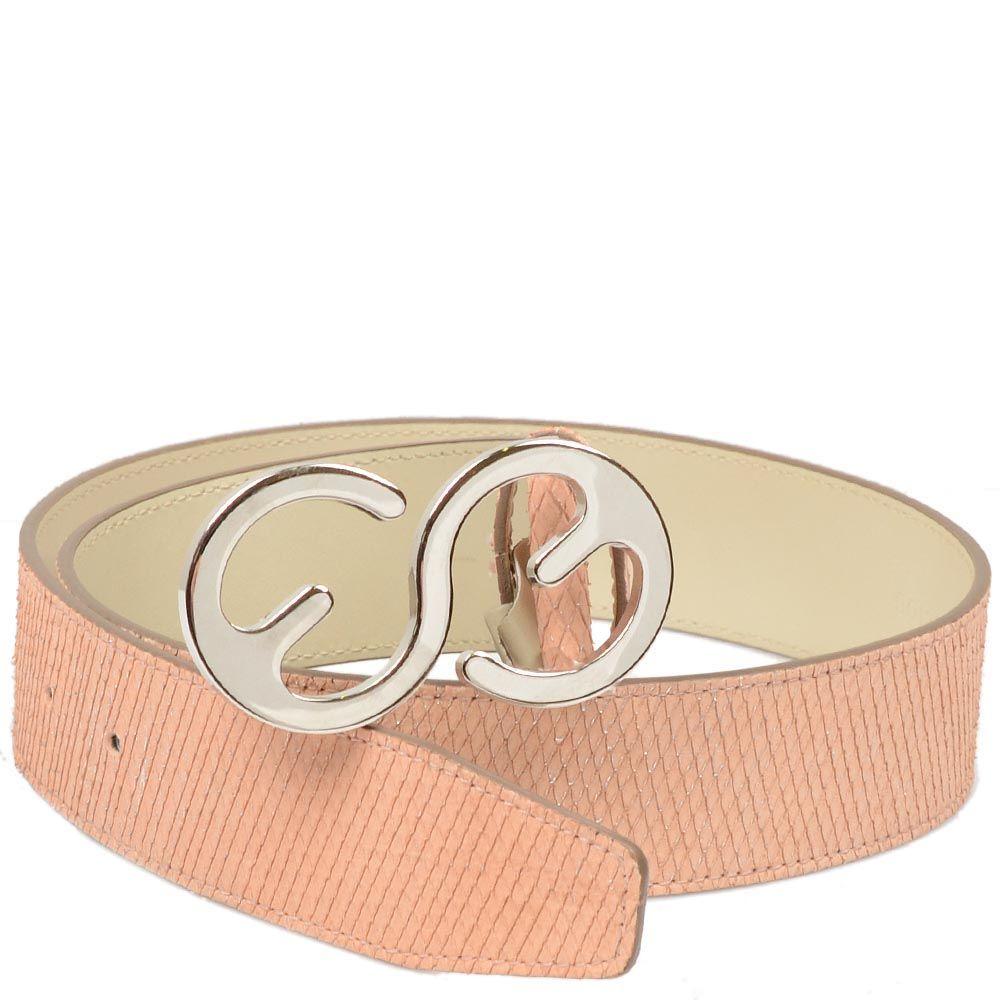 Кожаный ремень Escada Sport бежево-розовый с текстурой кожи змеи