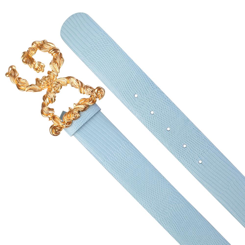 Голубой ремень Dolce&Gabbana с золотистой пряжкой