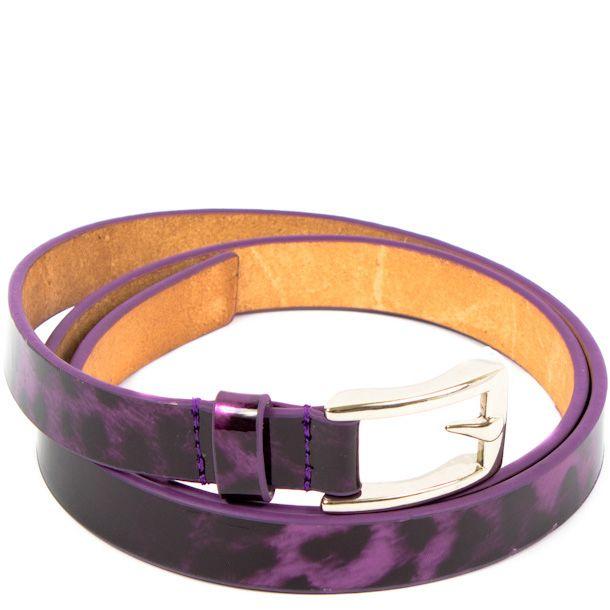 Ремень Eterno женский кожаный фиолетовый с леопардовым принтом