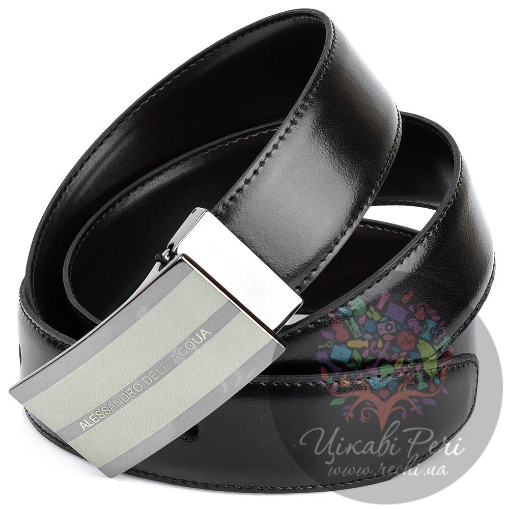 Ремень Alessandro Dell Acqua кожаный двусторонний со стильной пряжкой