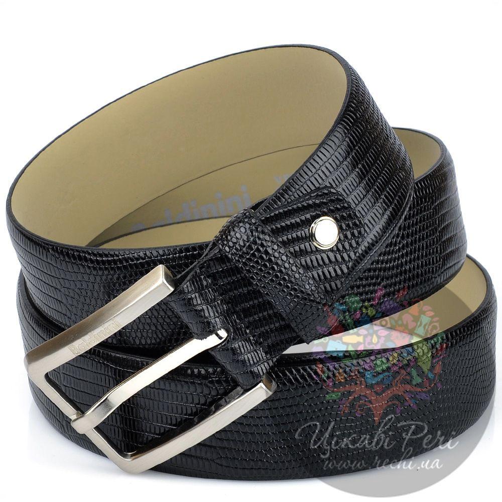 Ремень Baldinini мужской черный с роскошной имитацией кожи варана