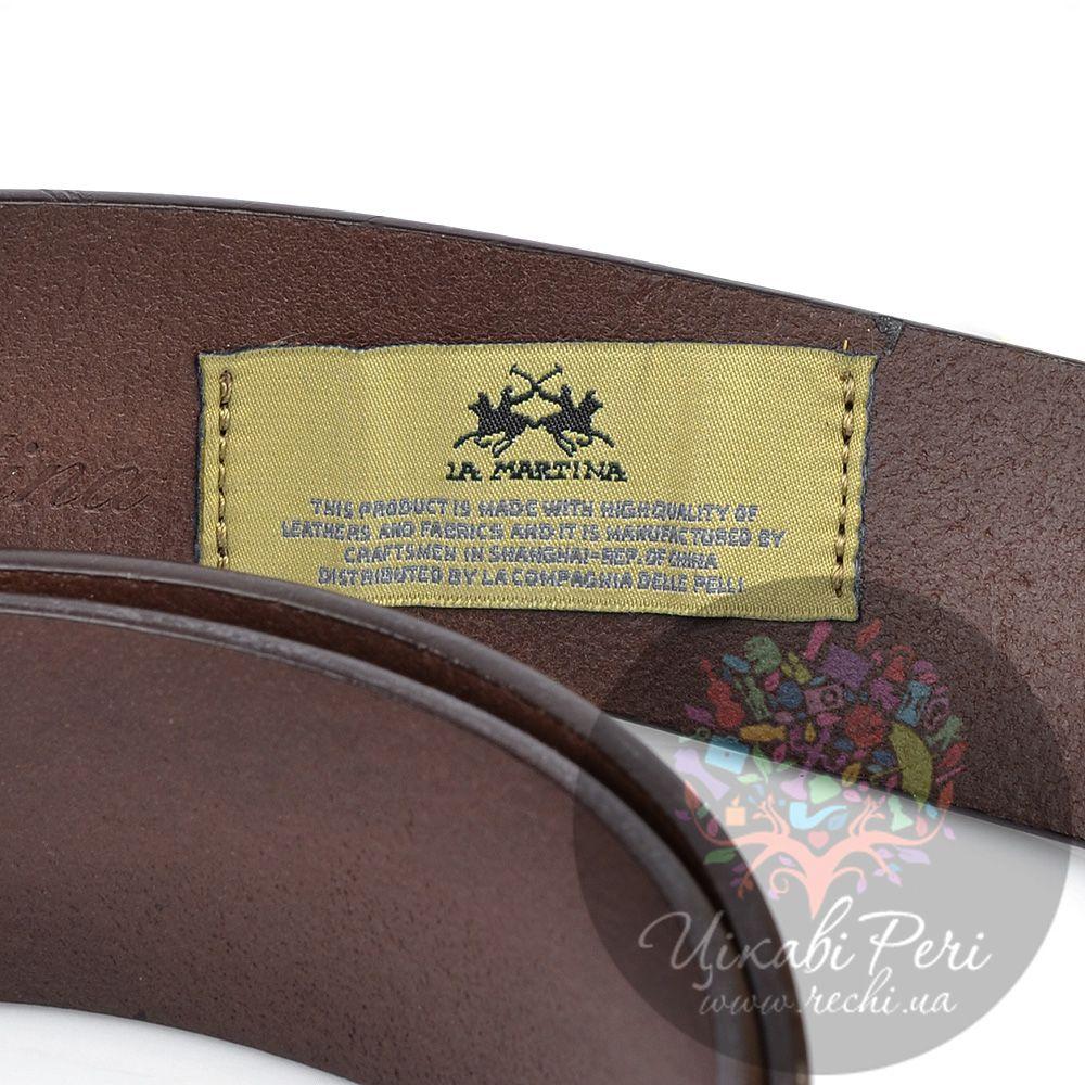 Ремень La Martina мужской кожаный коричневый с золотистой пряжкой