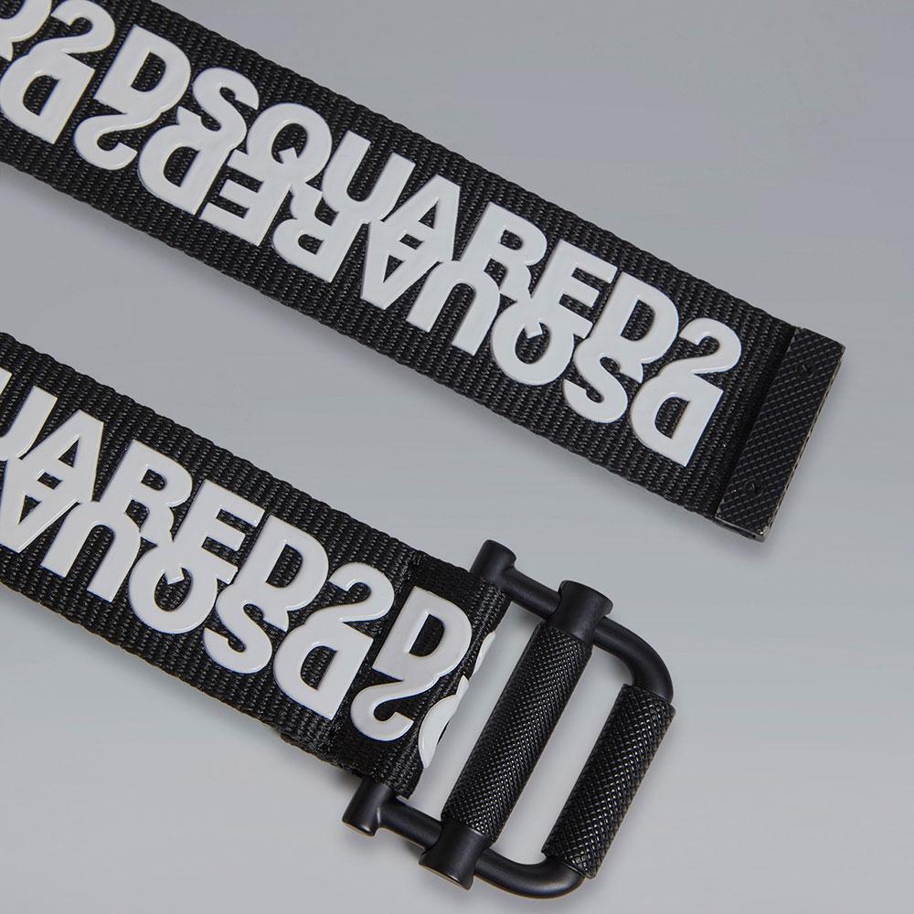 Черный ремень Dsquared2 с зеркальным логотипом