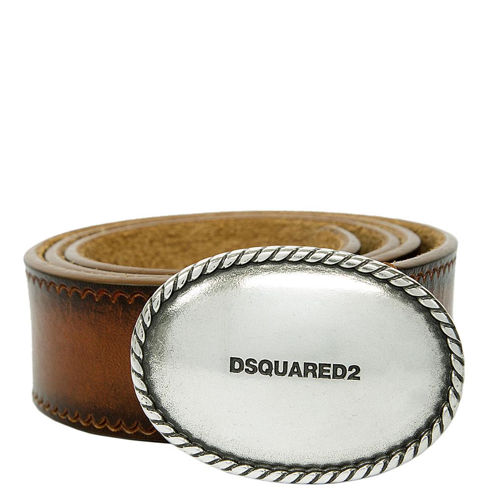 Коричневый ремень Dsquared2 с серебристой пряжкой