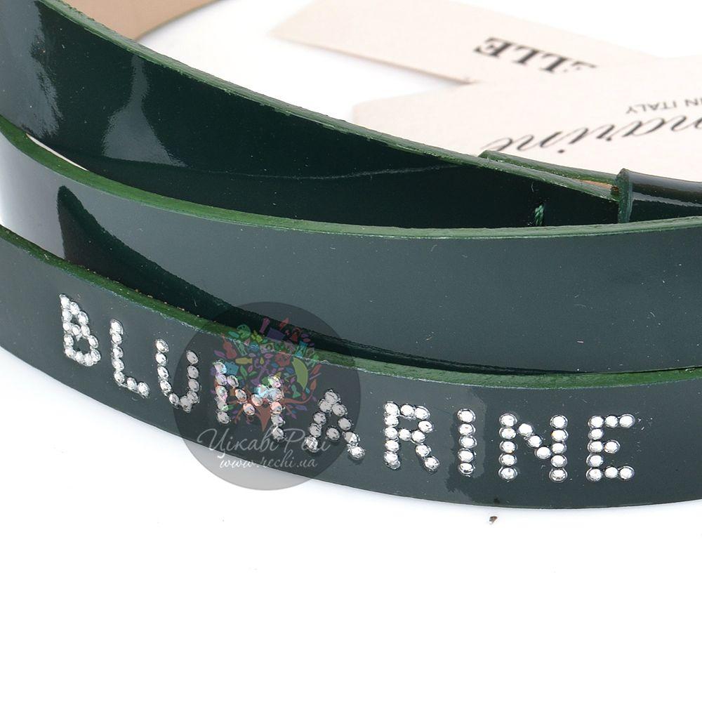 Ремень Blumarine женский кожаный лаковый темно-зеленый тонкий