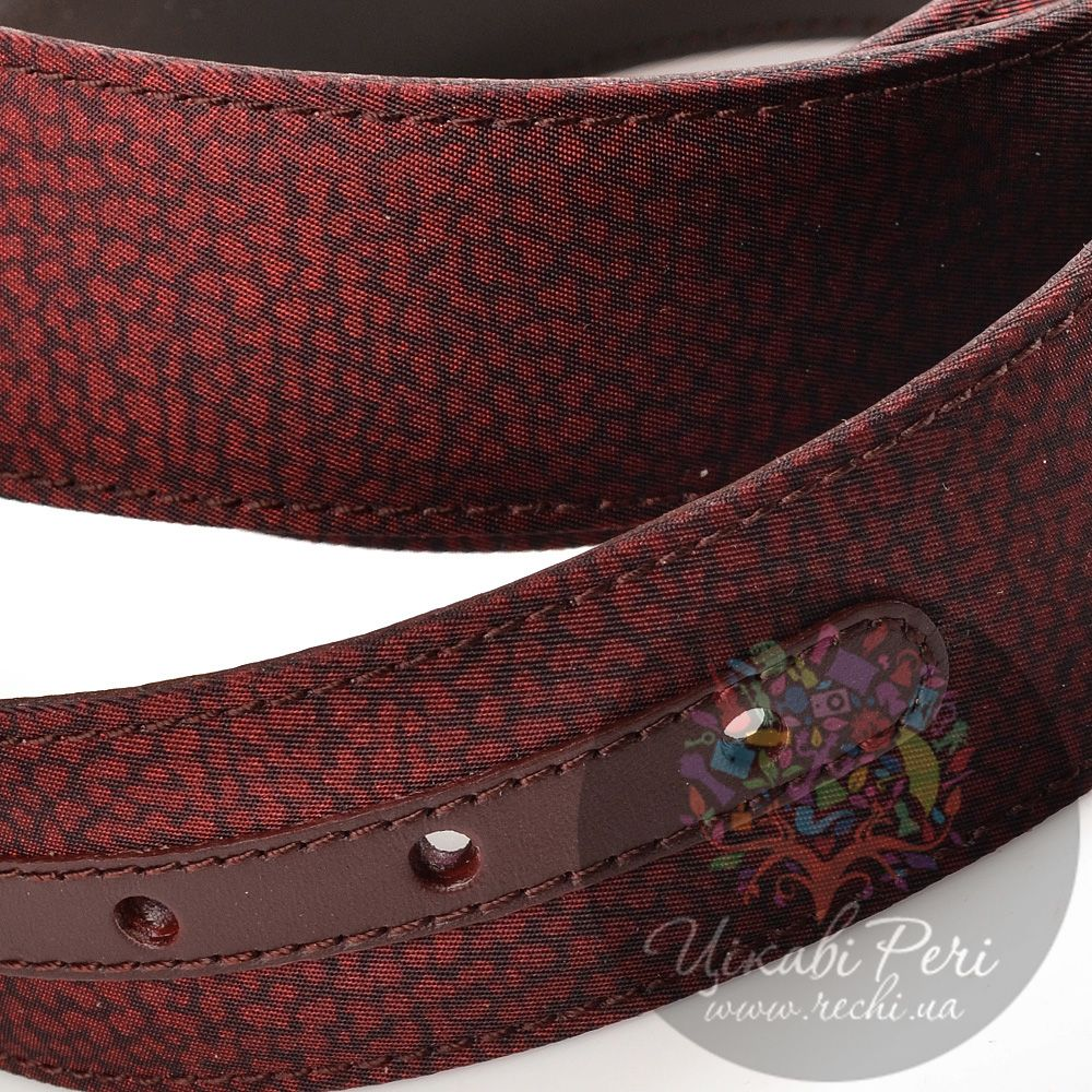 Ремень Borbonese женский текстильный бордовый с животным принтом