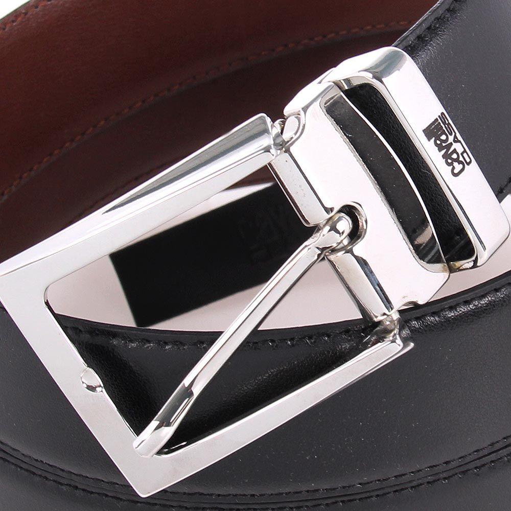 Ремень мужской Cavalli Class кожаный черного цвета с оборотной стороной коричневого цвета