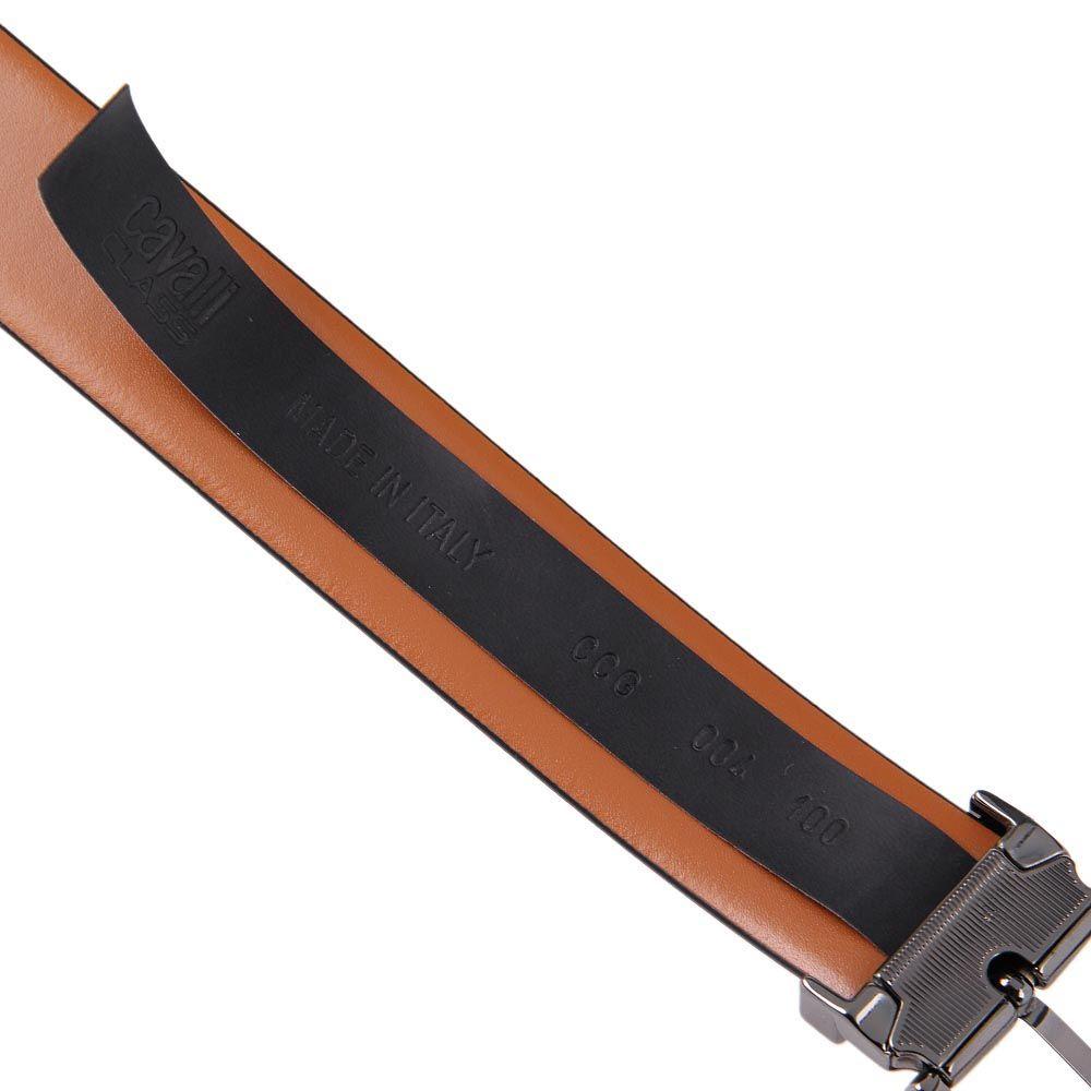 Ремень мужской Cavalli Class кожаный черного цвета с матовой пряжкой