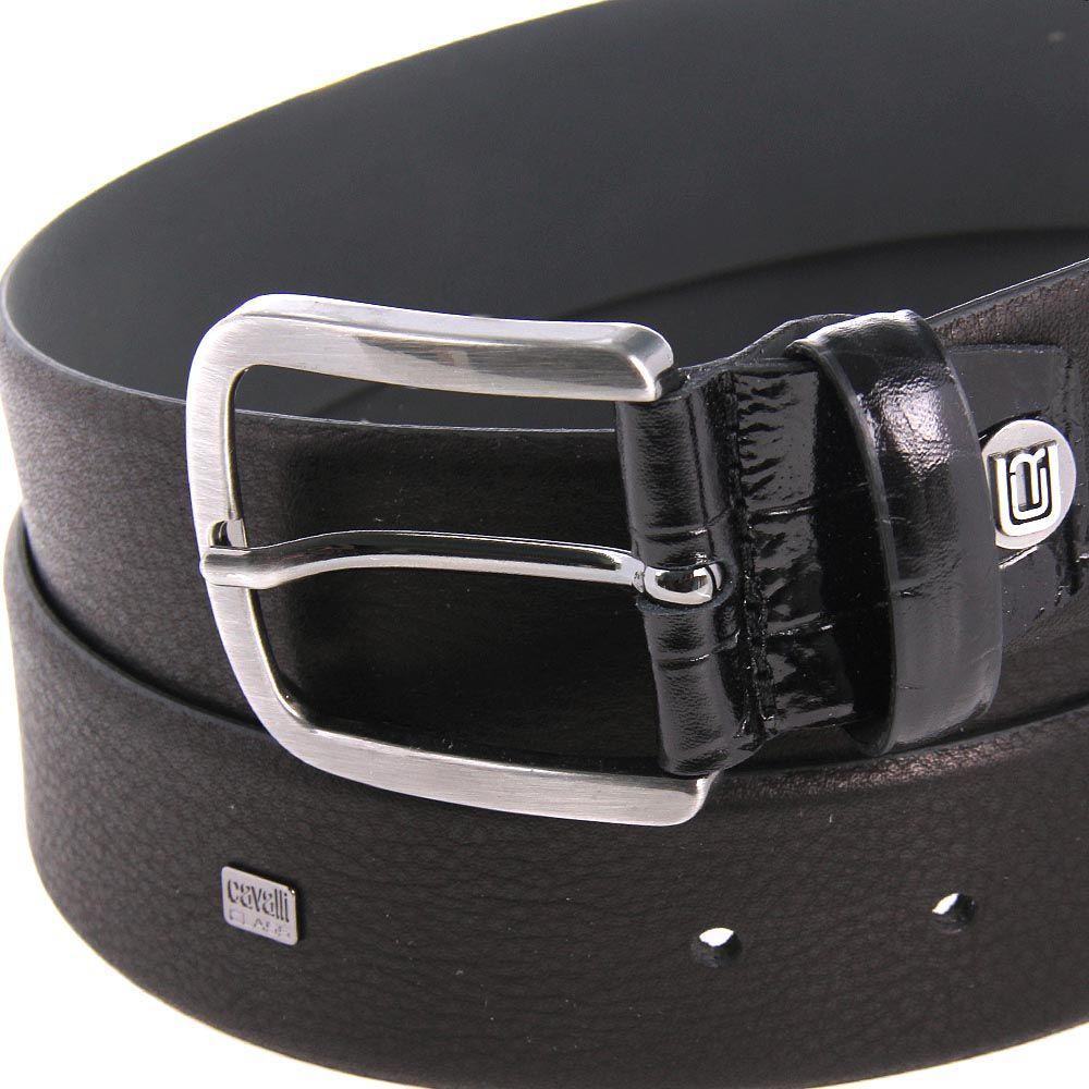 Ремень мужской Cavalli Class кожаный черного цвета со вставкой из лаковой кожи возле пряжки