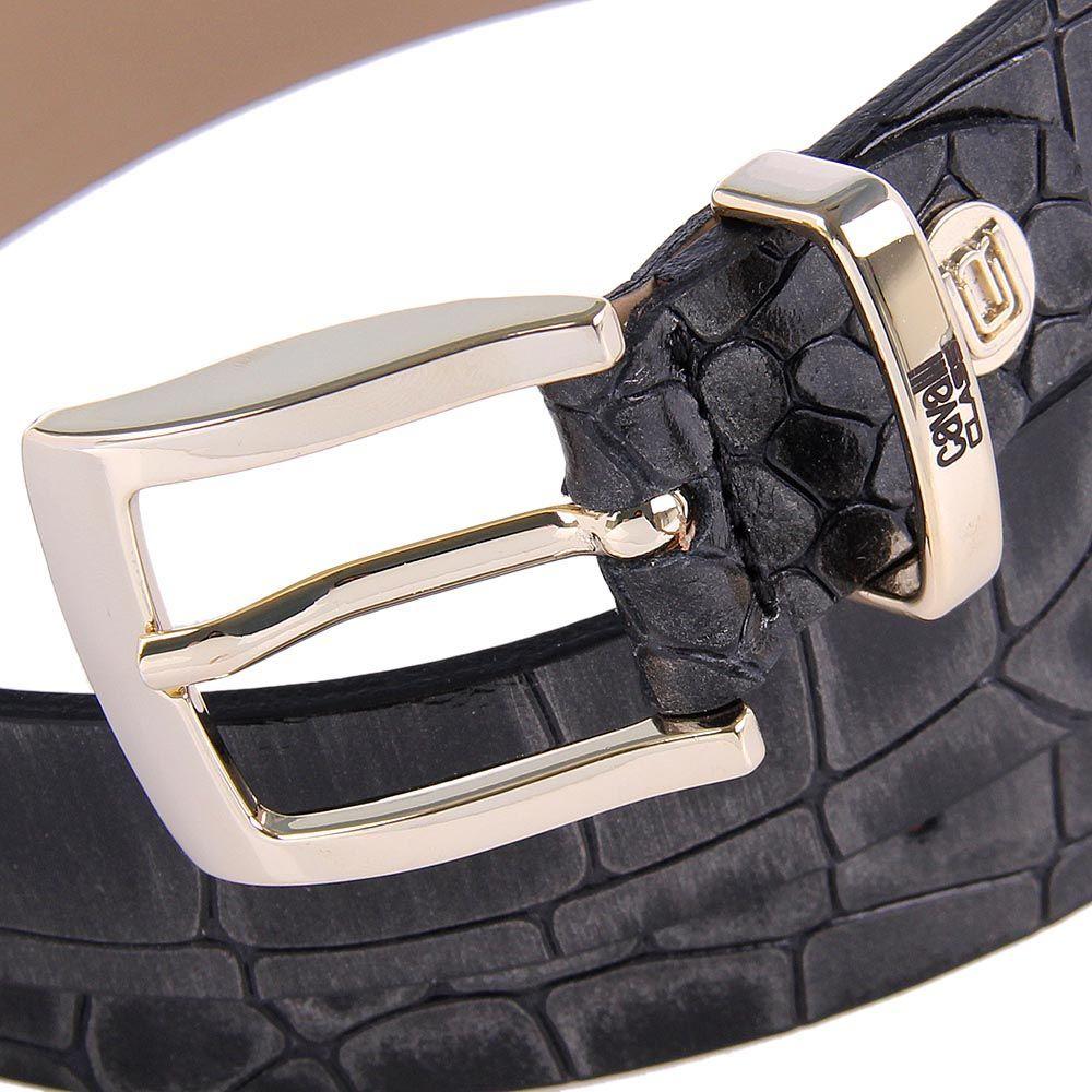 Женский ремень Cavalli Class кожаный черный лаковый под крокодила с серебристым напылением