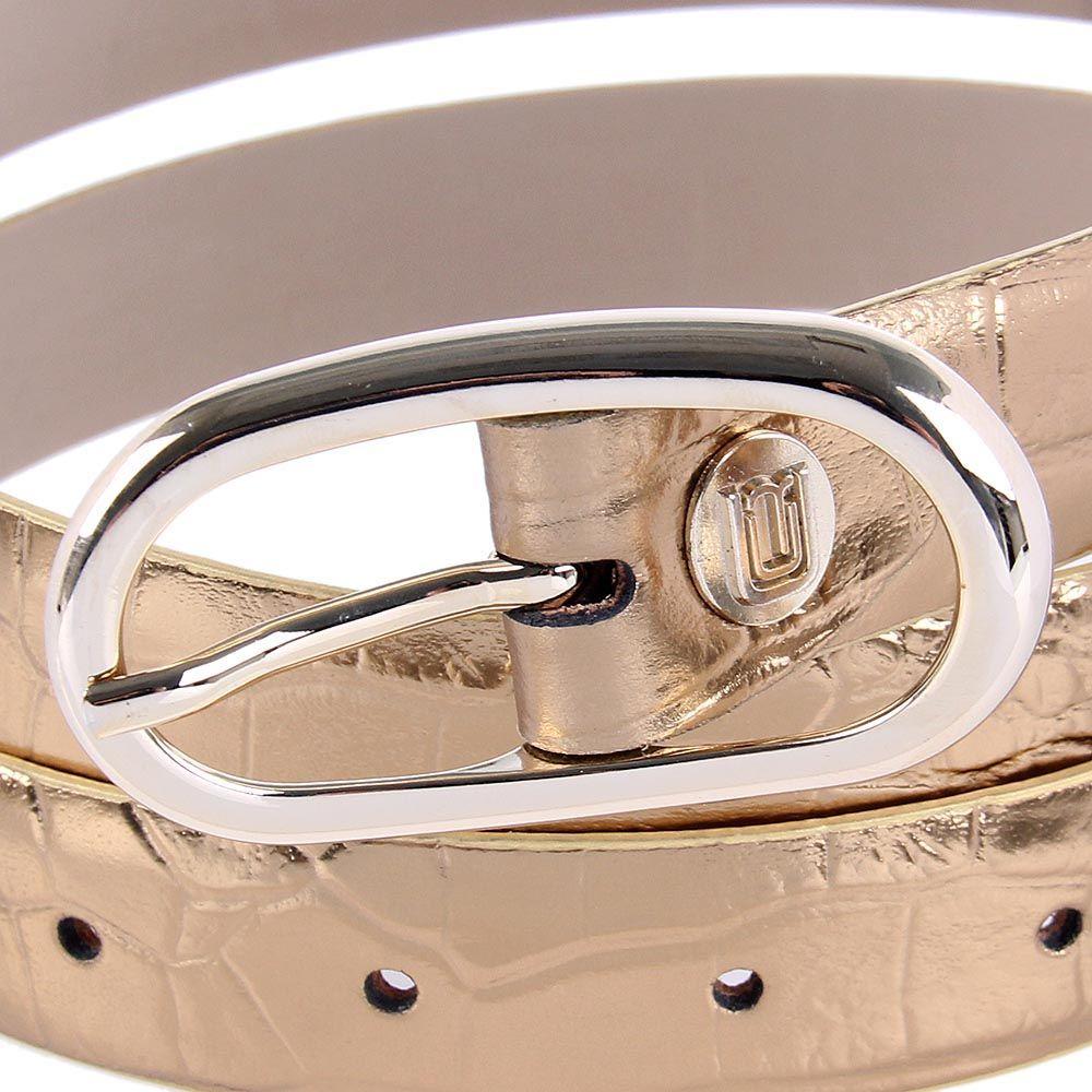 Ремень женский Cavalli Class кожаный золотистый с фактурой рептилии