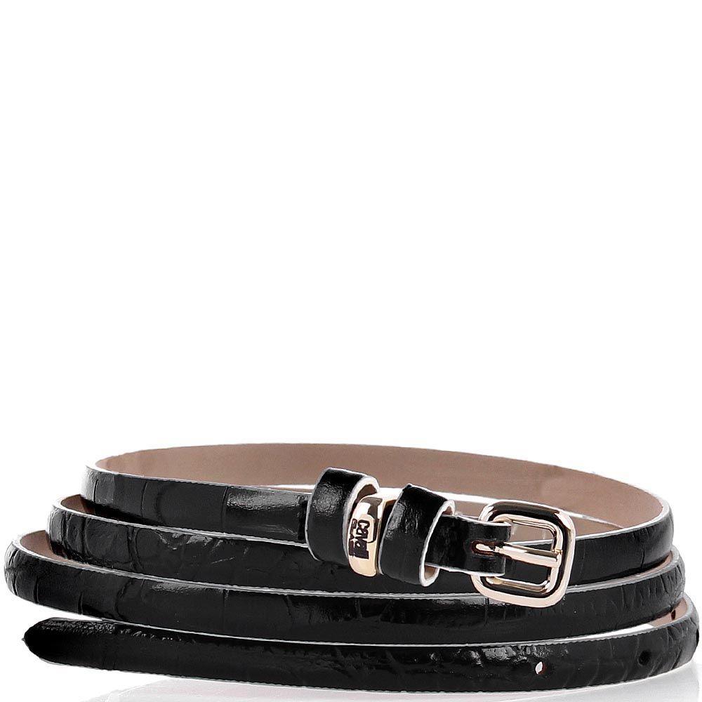 Женский ремень Cavalli Class кожаный черный под крокодила с белой оконтовкой