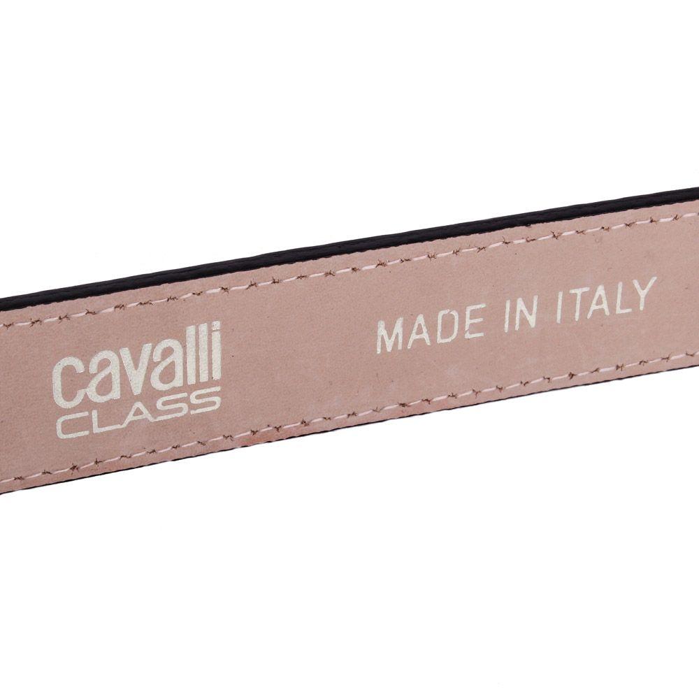 Женский ремень Cavalli Class черный лаковый с тиснением под кожу крокодила и с золотистой пряжкой