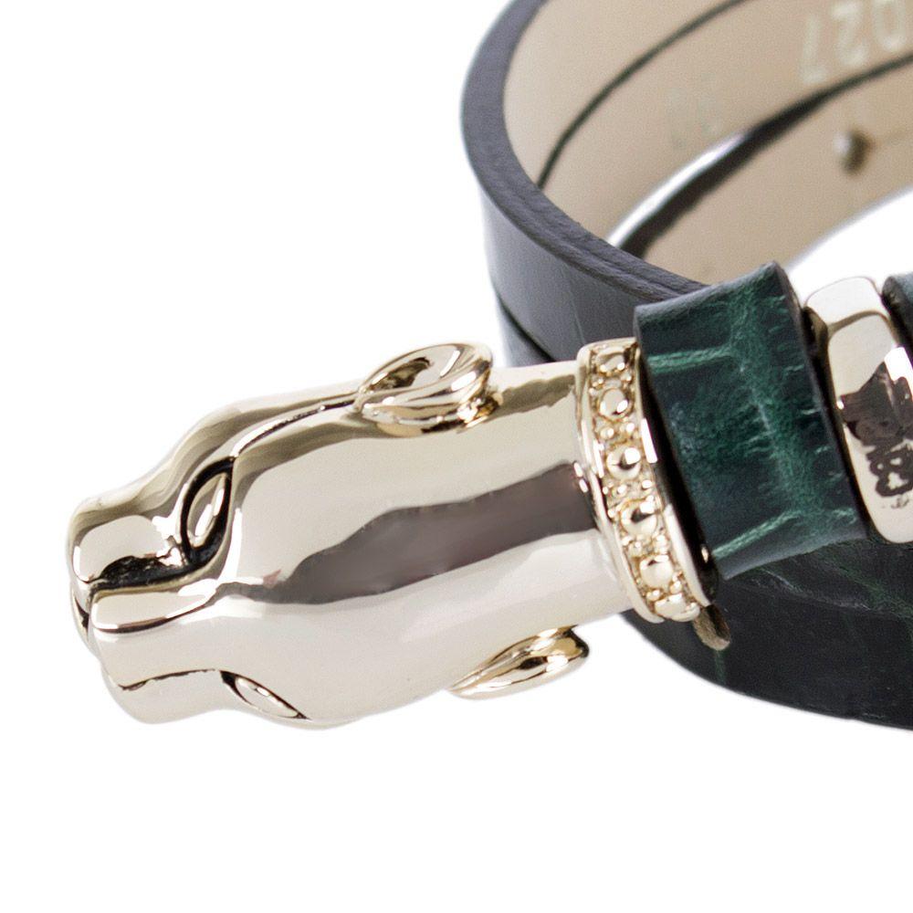 Ремень женский Cavalli Class кожаный узкий зеленый лаковый под крокодила с золотой головой леопарда