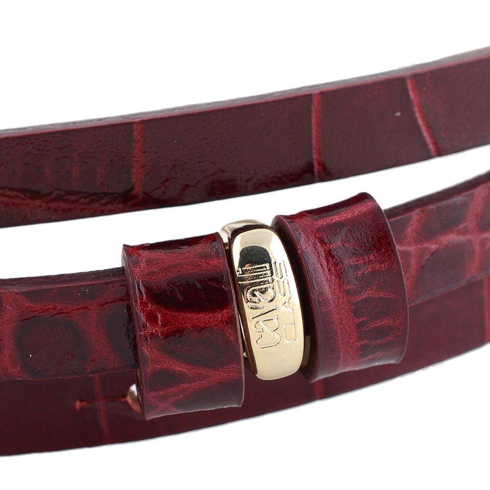 Ремень женский Cavalli Class кожаный узкий бордовый лаковый под крокодила с золотой головой леопарда