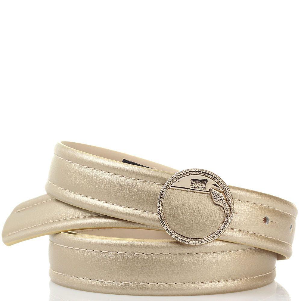 Женский ремень Cavalli Class золотого цвета с круглой пряжкой в виде фирменной змеи
