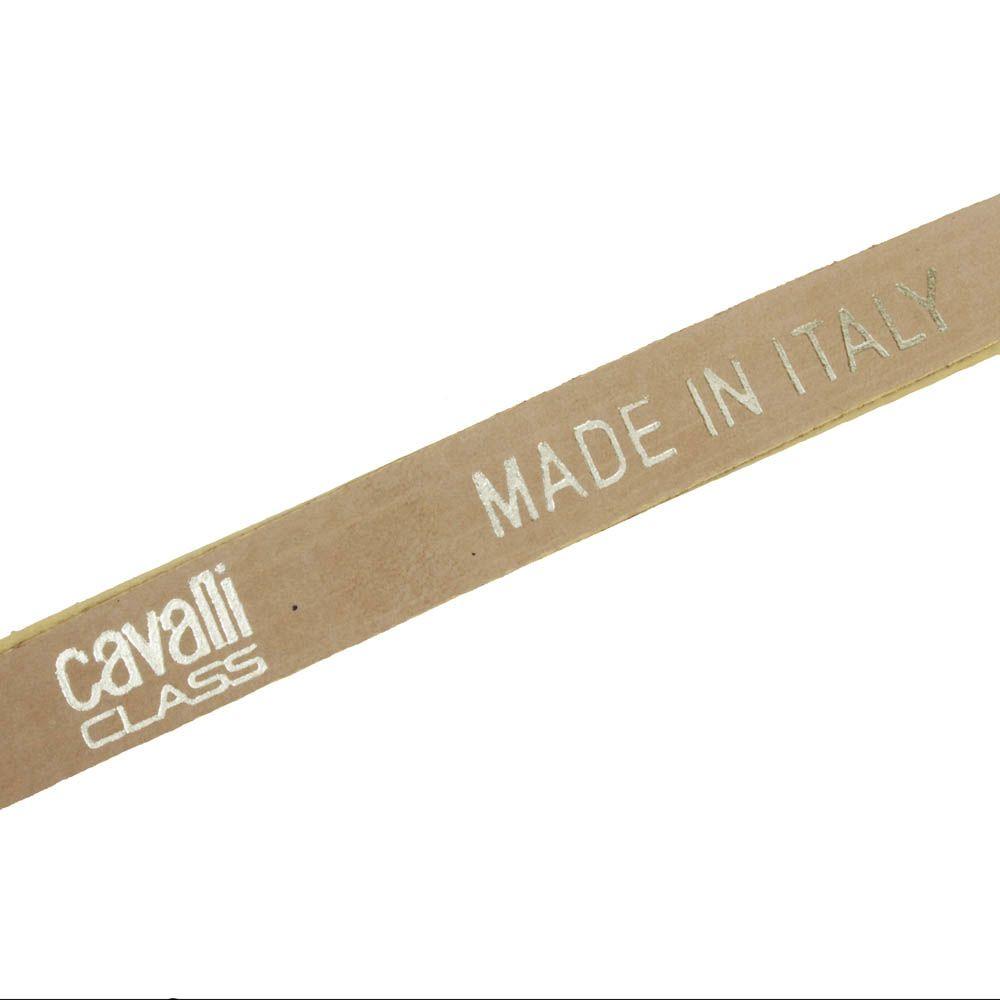 Ремень Cavalli Class блестящий бронзового оттенка с рельефом под кожу змеи и брендированной пряжкой
