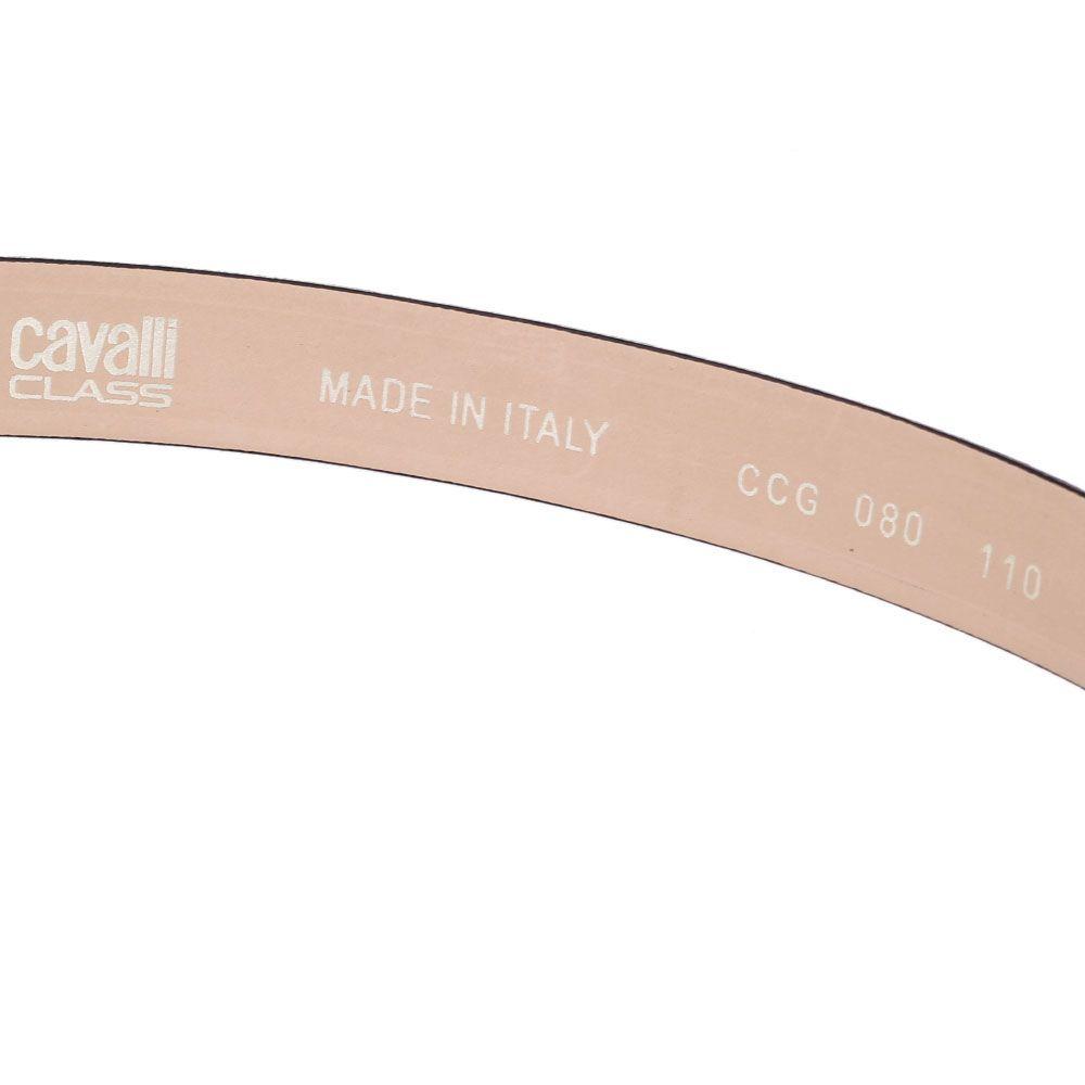 Женский ремень Cavalli Class черный из мелкозернистой кожи с крупной золотистой пряжкой