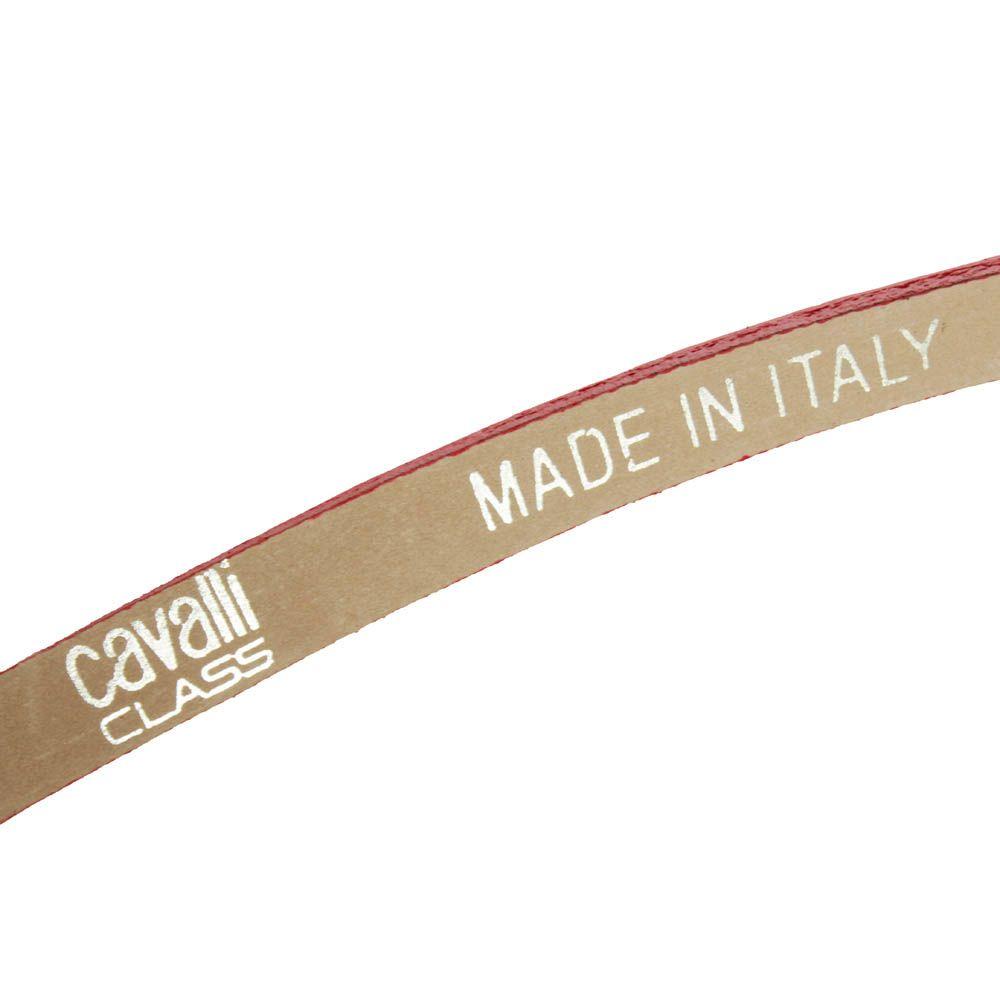 Ремень Cavalli Class тонкий из рельефной кожи под крокодила красного цвета
