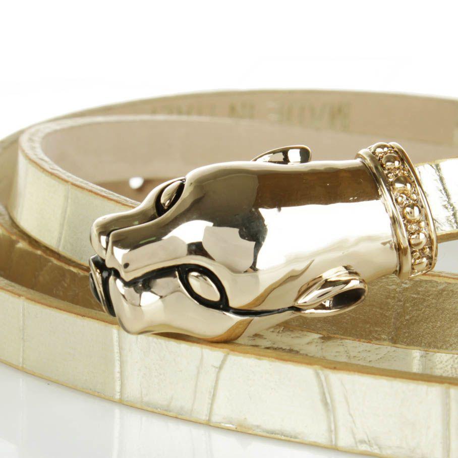 Ремень Cavalli Class тонкий из рельефной кожи под крокодила светло-золотистого цвета