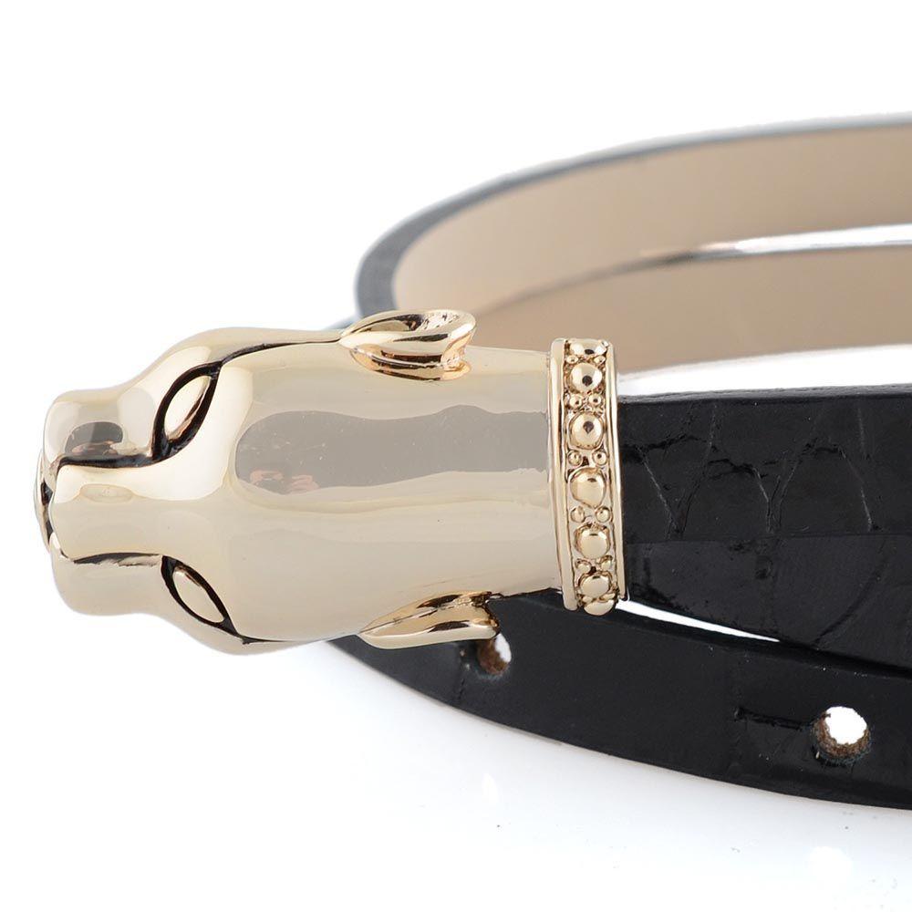 Ремень женский Cavalli Class кожаный узкий черный лаковый под крокодила с золотой головой леопарда