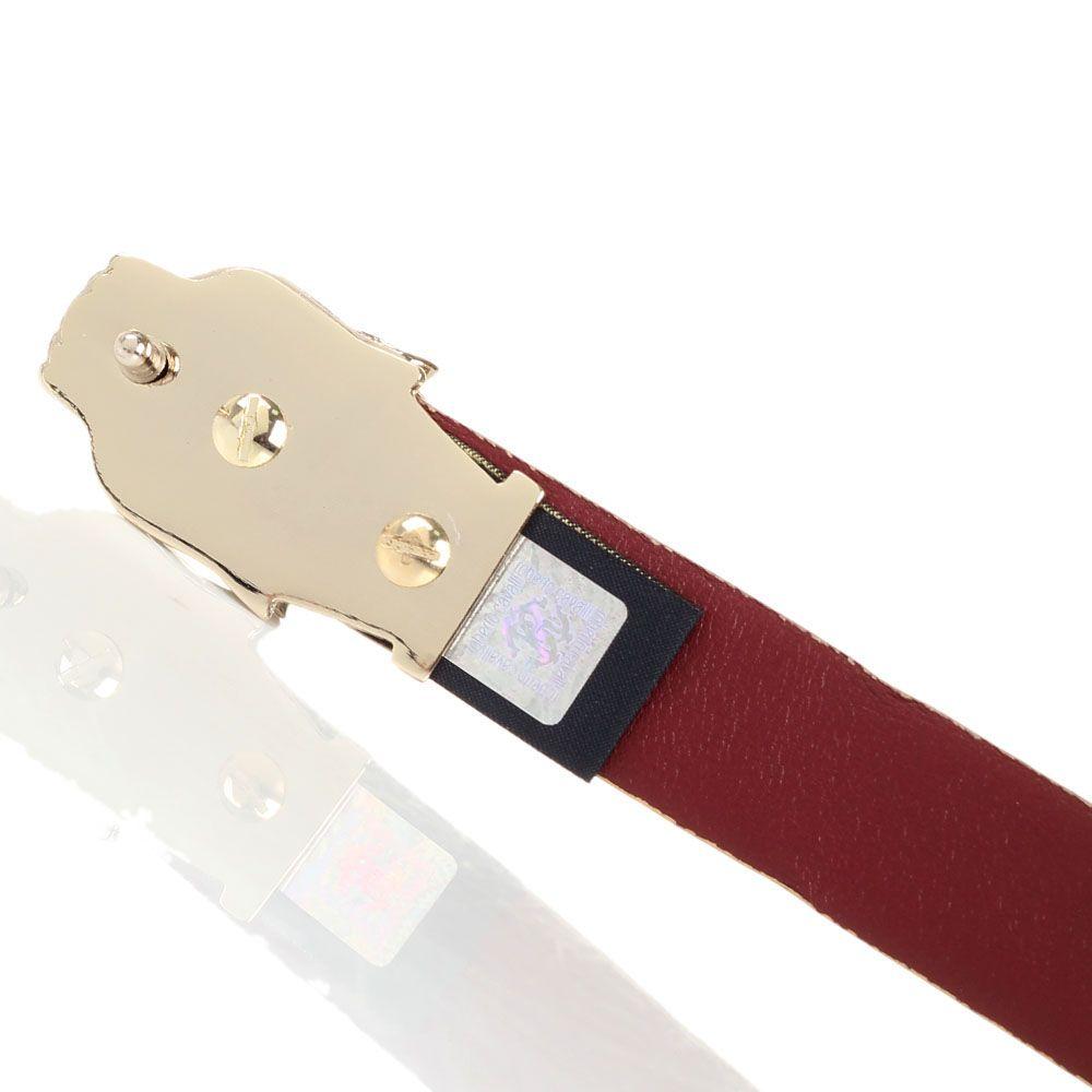 Ремень женский Cavalli Class Pantera Nera из крупнозернистой кожи бежевого цвета с фирменной металлической пряжкой