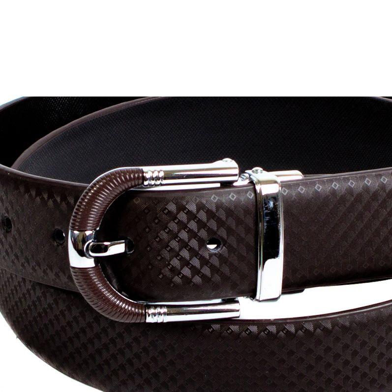 Ремень Eterno кожаный коричневый с коричнево-стальной пряжкой