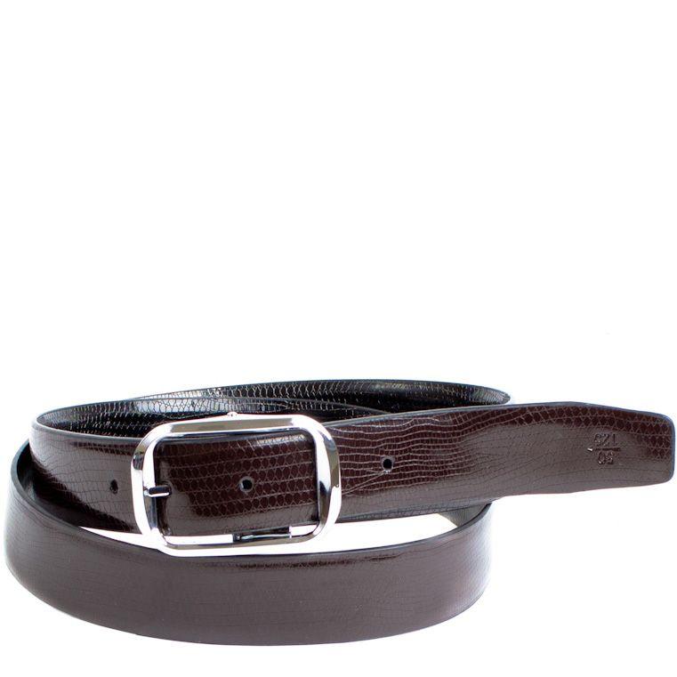 Ремень Eterno кожаный двусторонний гладкий с коричневой и черной стороной