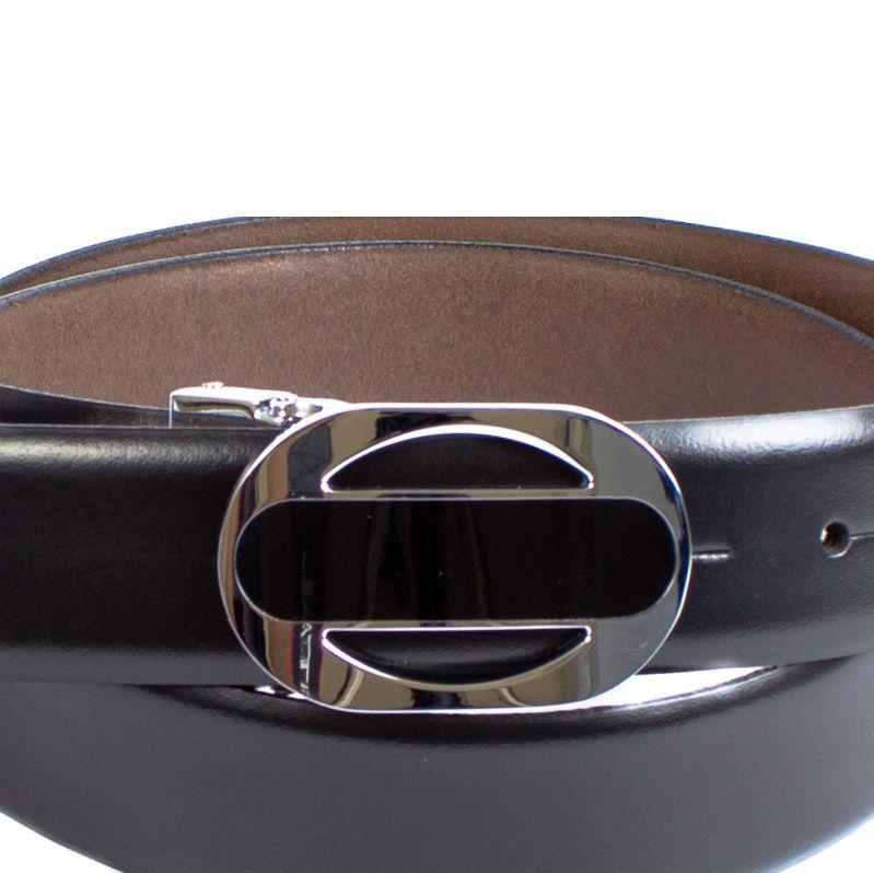 Ремень Eterno кожаный гладкий черный с овальной пряжкой