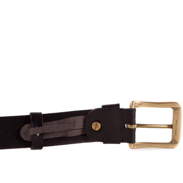 Ремень Eterno кожаный черный со стальной пряжкой цвета бронзы