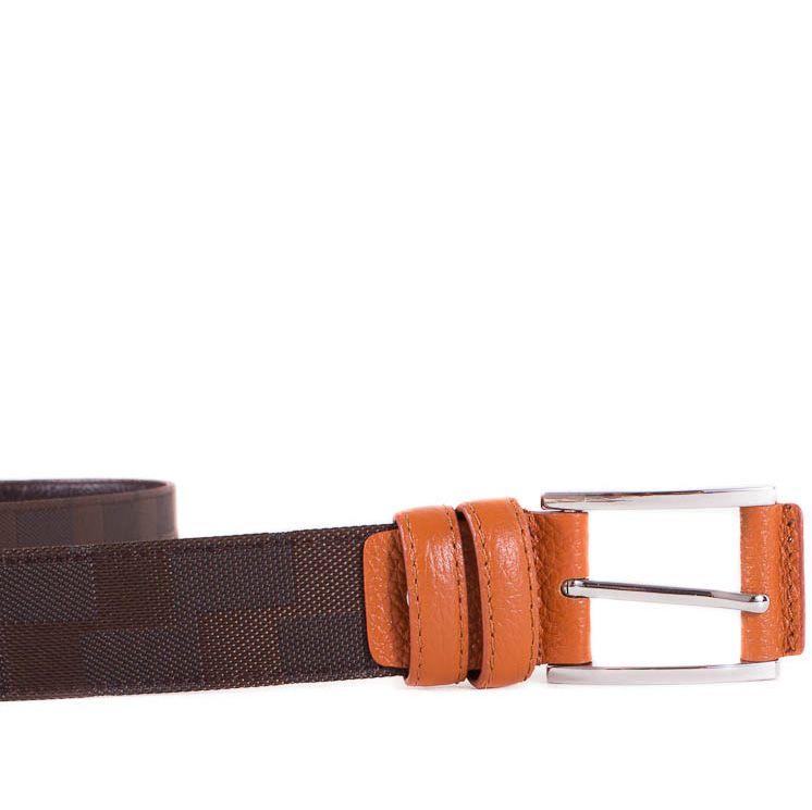 Ремень Eterno из коричневого текстиля и оранжевой кожи