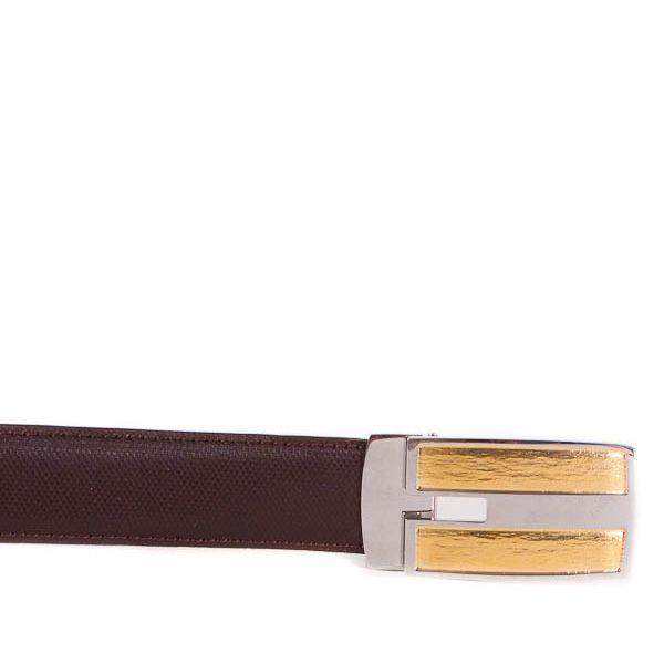 Ремень Eterno коричневый кожаный рельефный