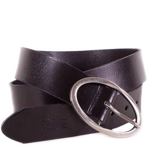 Ремень Eterno женский кожаный черный средней ширины с овальной пряжкой