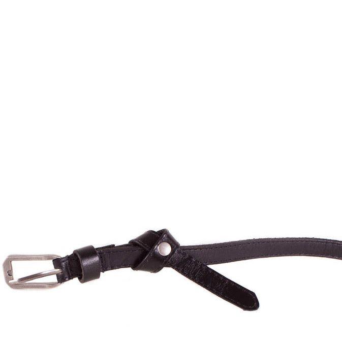 Ремень Eterno женский кожаный черный узкий с классической стальной пряжкой