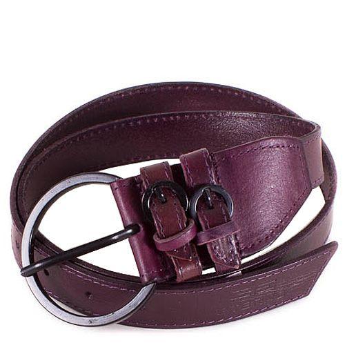 Ремень Eterno женский кожаный фиолетово-сливовый с крупной пряжкой