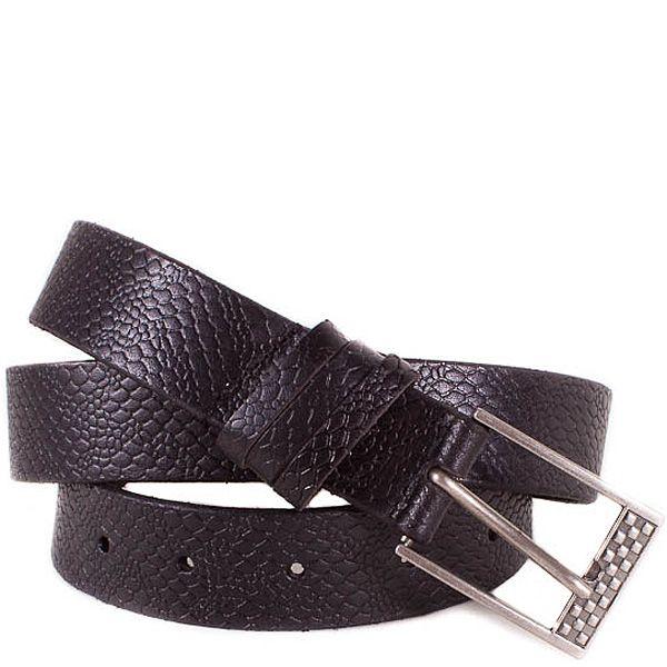 Ремень Eterno женский кожаный черный фактурный с прямоугольной пряжкой