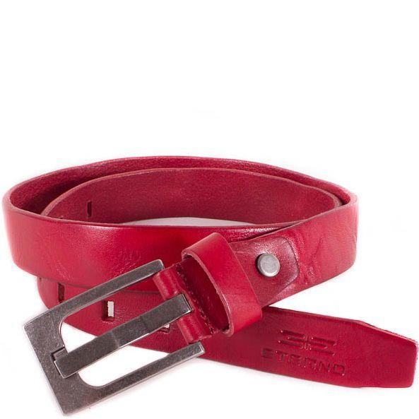 Ремень Eterno женский кожаный красный классический