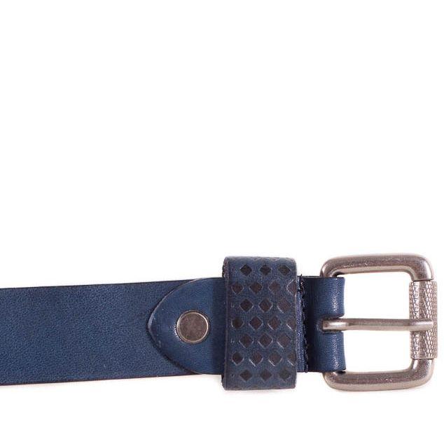 Ремень Eterno женский кожаный синий средней ширины