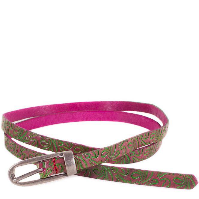 Ремень Eterno женский кожаный узкий розовый с оливковым тисненым рисунком