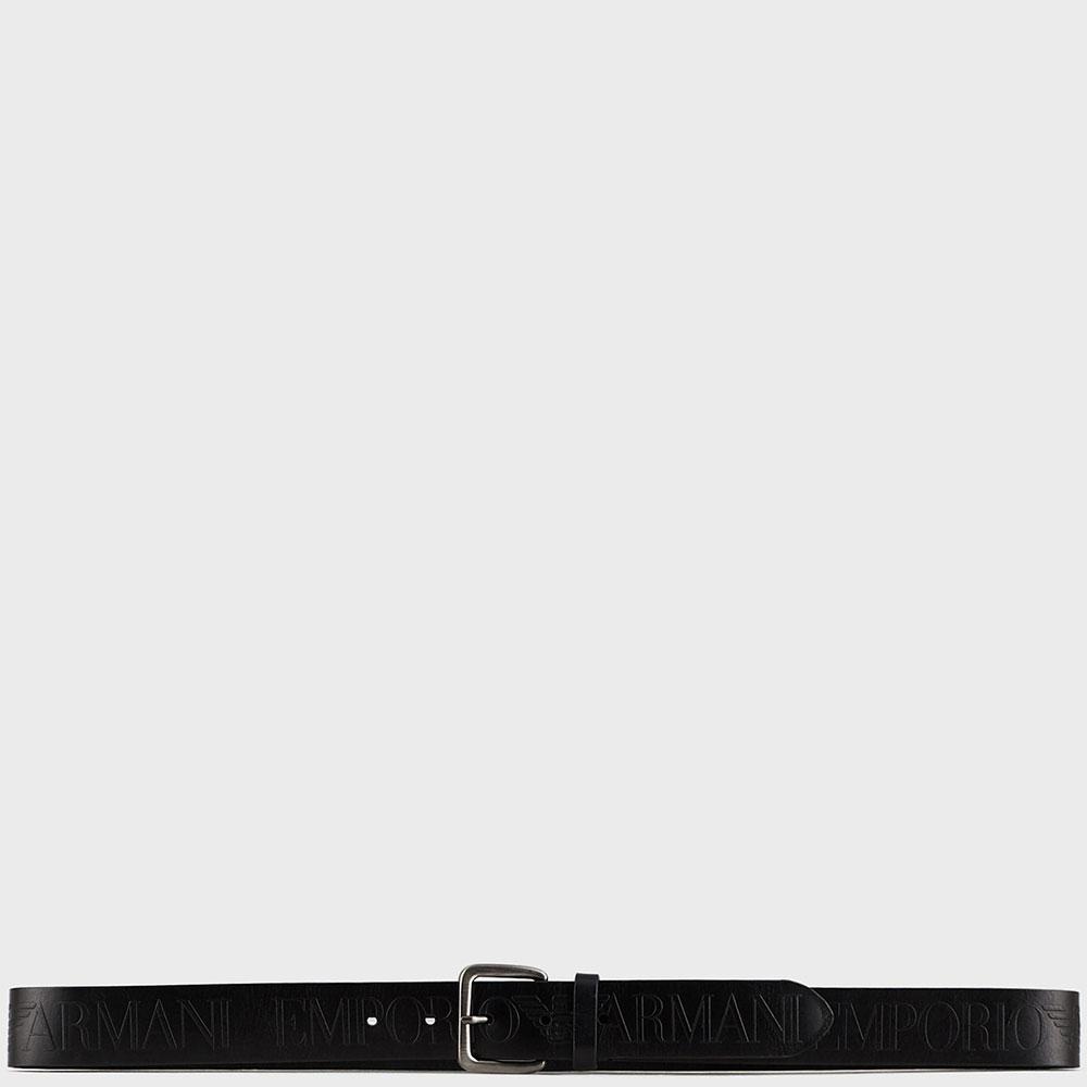 Ремень с брендовым тиснением Emporio Armani в черном цвете