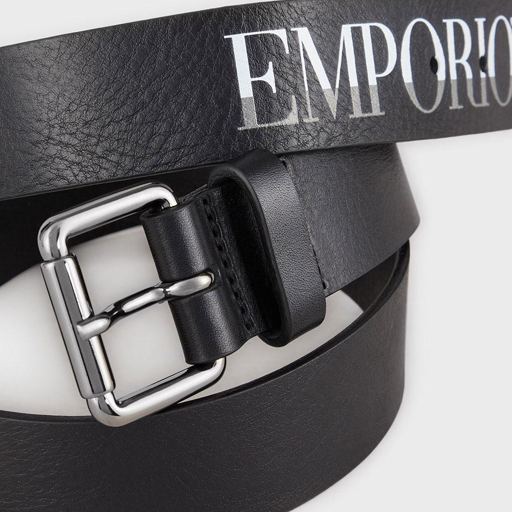Ремень с принтом Emporio Armani из черной кожи