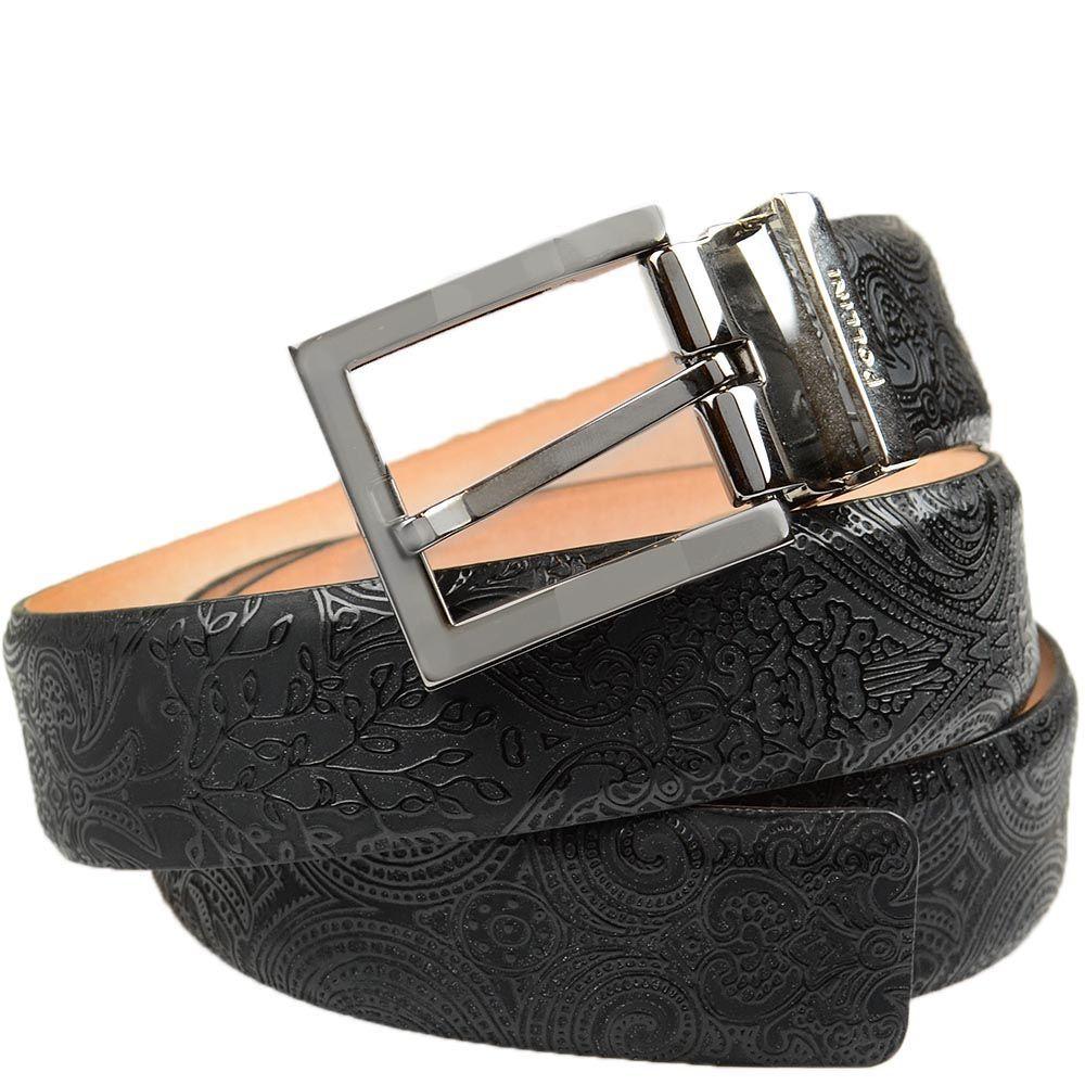 Кожаный ремень Pollini черный с тисненым лаковым узором
